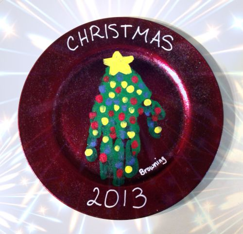 Handprint Christmas Tree plate 3
