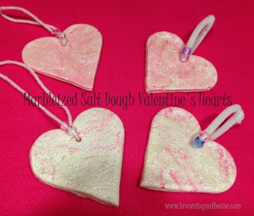 Marbleized Salt Dough Hearts